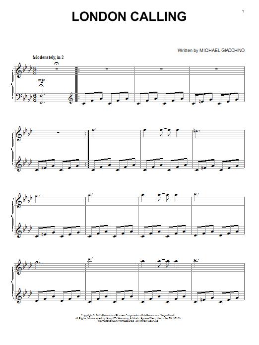 Michael Giacchino London Calling sheet music notes and chords. Download Printable PDF.