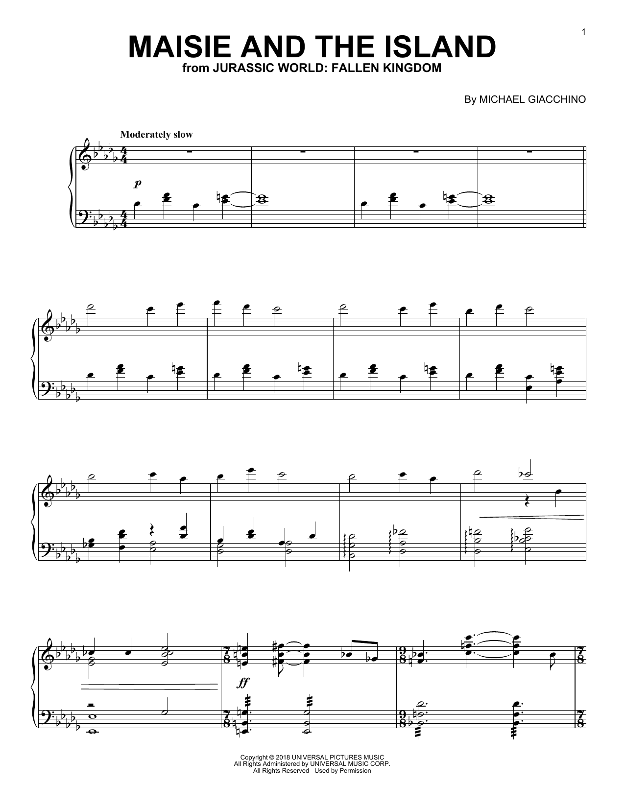 Michael Giacchino Maisie And The Island (from Jurassic World: Fallen Kingdom) sheet music notes and chords. Download Printable PDF.