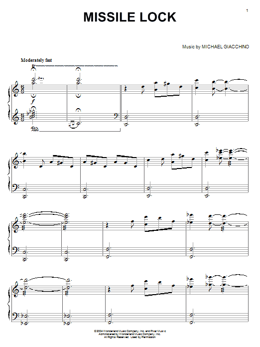 Michael Giacchino Missile Lock (from The Incredibles) sheet music notes and chords. Download Printable PDF.