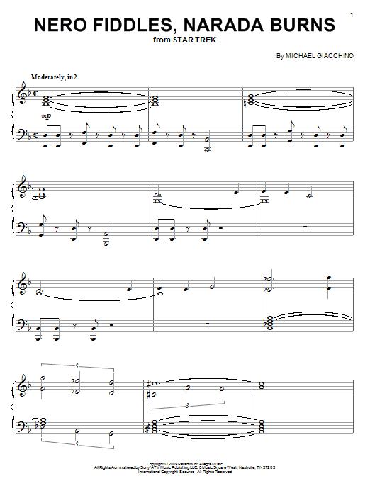 Michael Giacchino Nero Fiddles, Narada Burns sheet music notes and chords. Download Printable PDF.