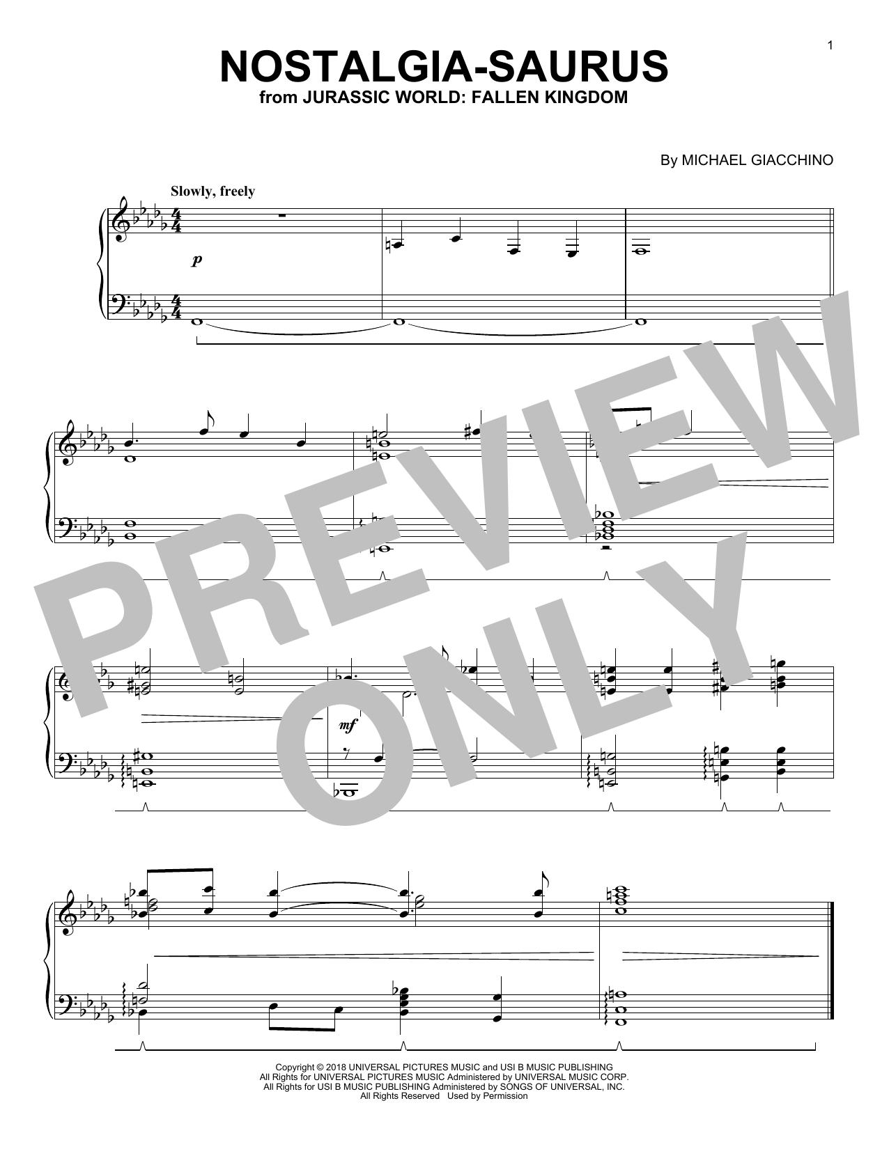 Michael Giacchino Nostalgia-Saurus (from Jurassic World: Fallen Kingdom) sheet music notes and chords. Download Printable PDF.