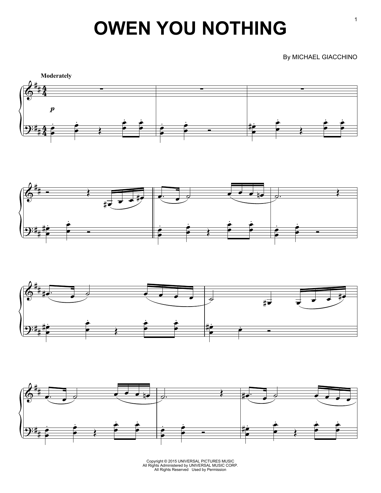 Michael Giacchino Owen You Nothing sheet music notes and chords