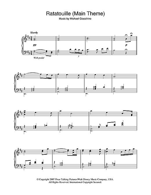 Michael Giacchino Ratatouille (Main Theme) sheet music notes and chords