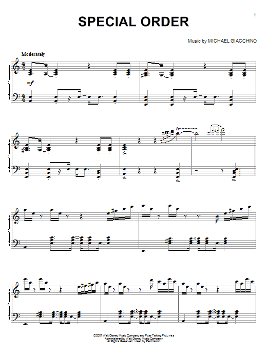 Michael Giacchino Special Order (from Ratatouille) sheet music notes and chords. Download Printable PDF.