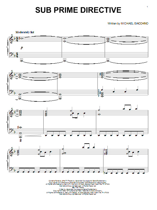 Michael Giacchino Sub Prime Directive sheet music notes and chords