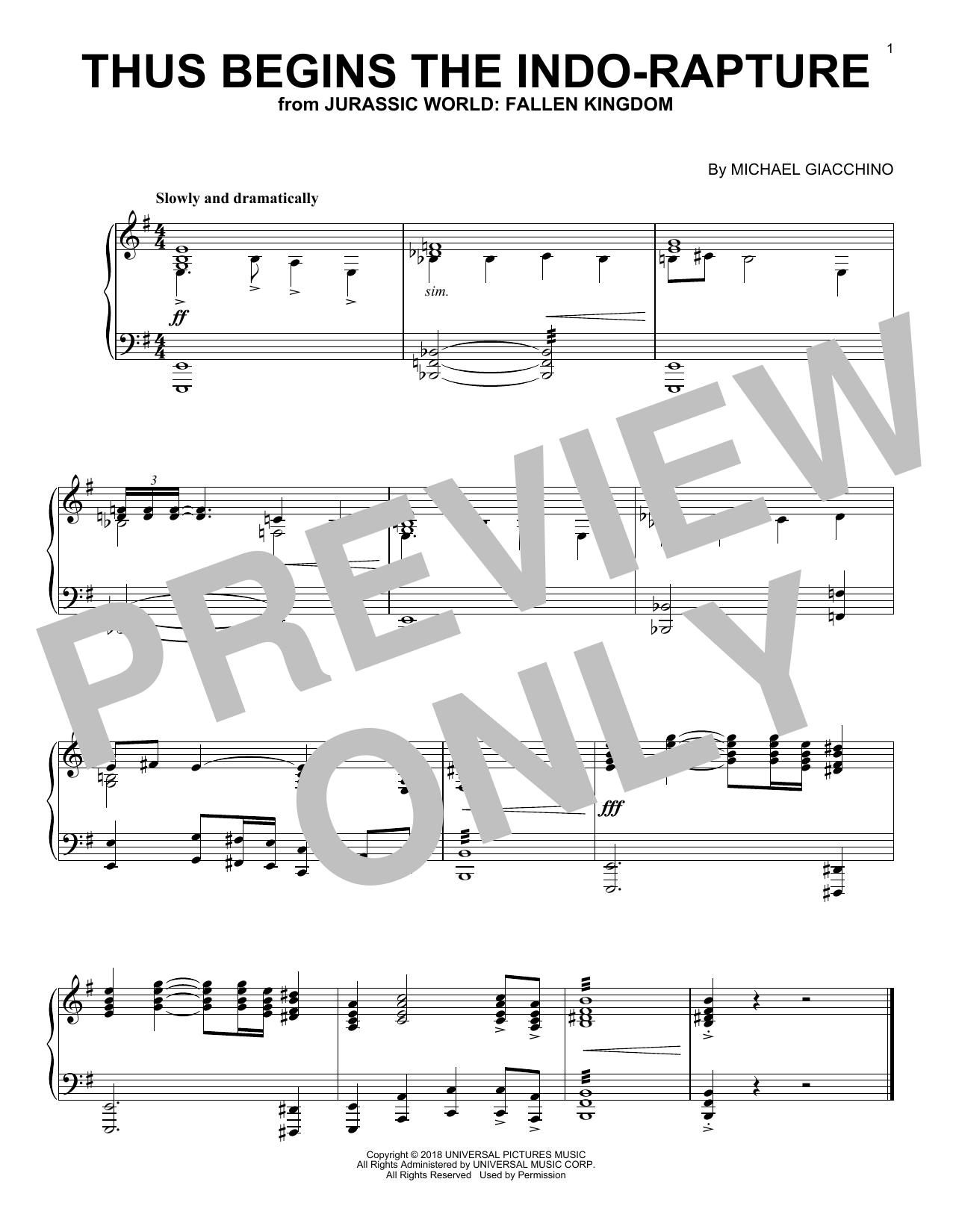 Michael Giacchino Thus Begins The Indo-Rapture (from Jurassic World: Fallen Kingdom) sheet music notes and chords