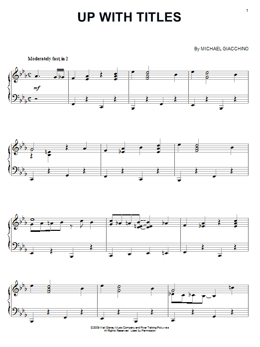Michael Giacchino Up With Titles sheet music notes and chords. Download Printable PDF.