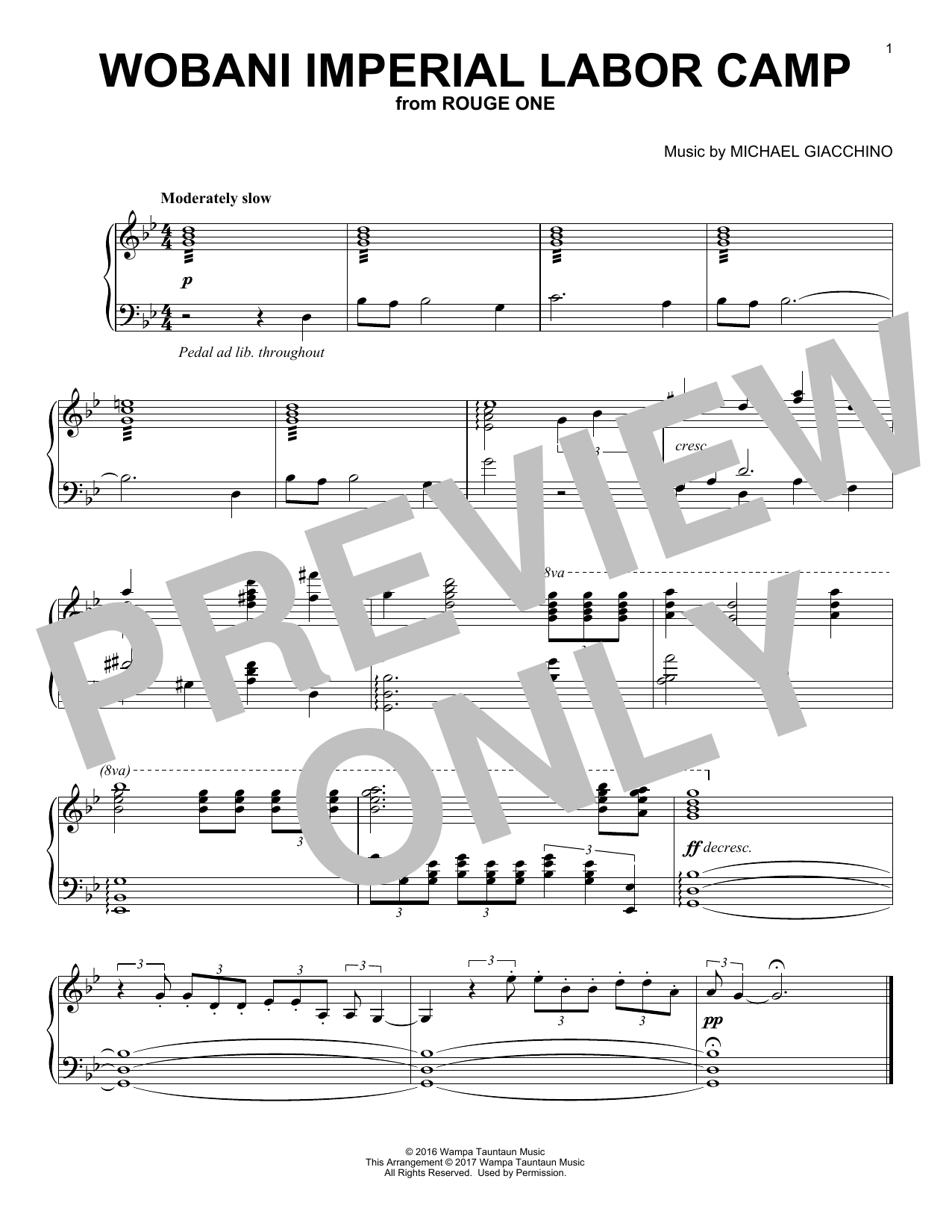 Michael Giacchino Wobani Imperial Labor Camp sheet music notes and chords. Download Printable PDF.