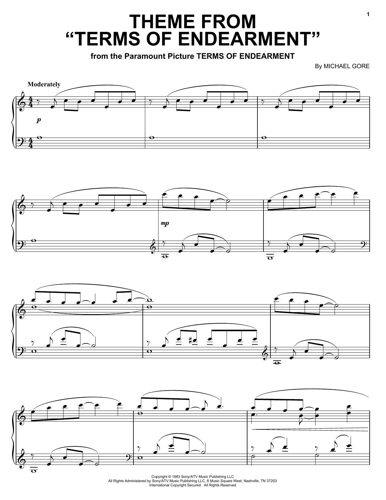 Michael Gore Theme from Terms Of Endearment sheet music notes and chords. Download Printable PDF.