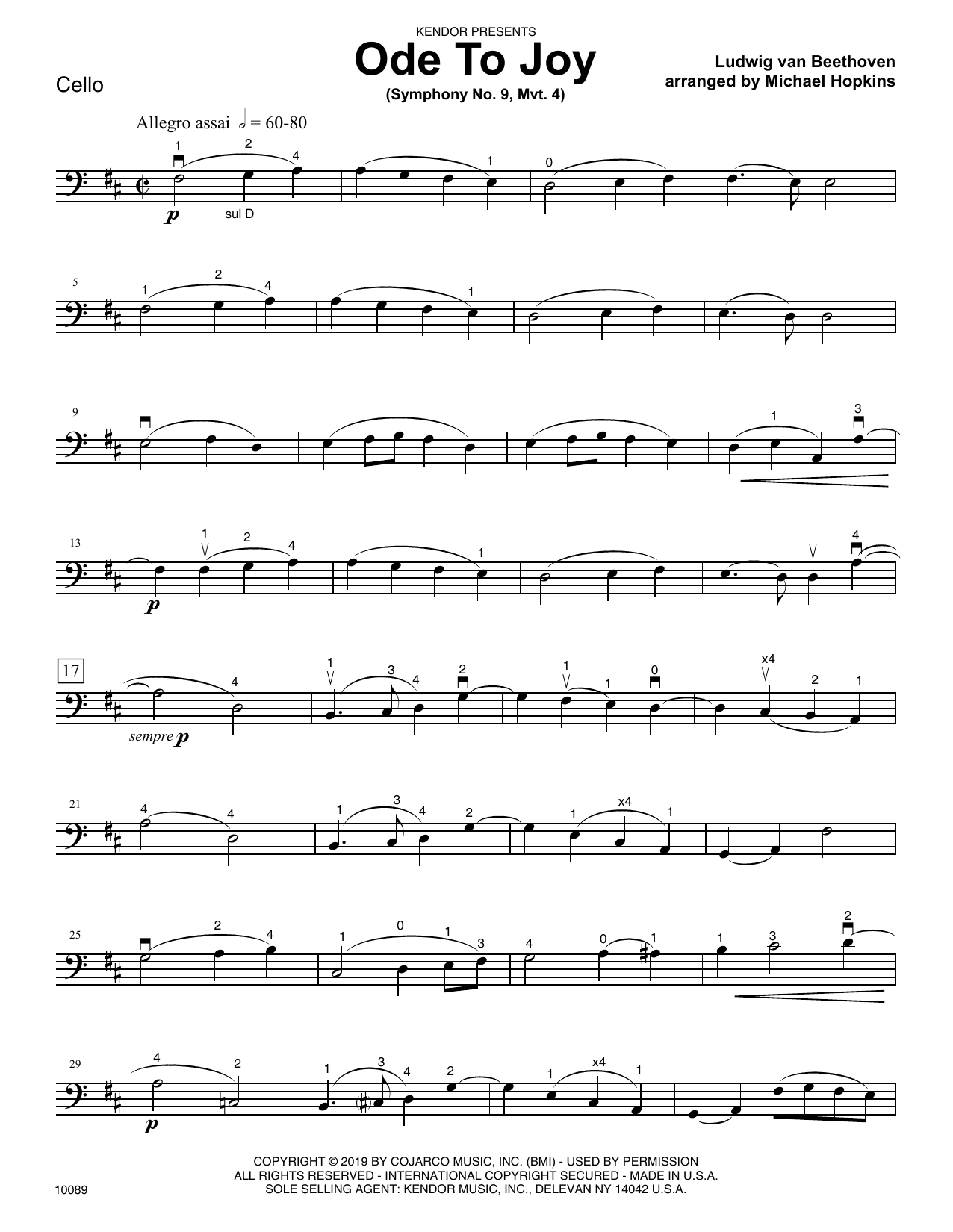 Michael Hopkins Ode To Joy (Symphony No. 9, Mvt. 4) - Cello sheet music notes and chords. Download Printable PDF.