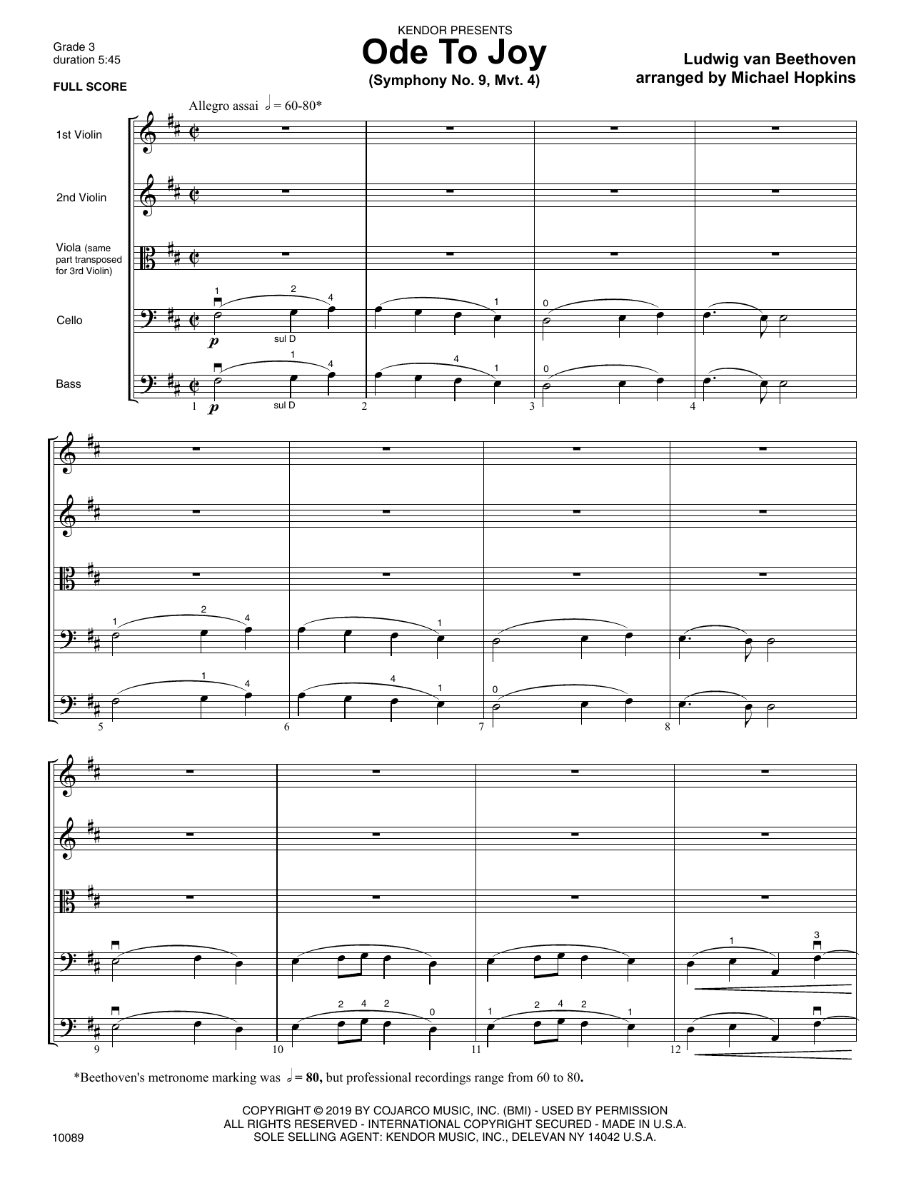 Michael Hopkins Ode To Joy (Symphony No. 9, Mvt. 4) - Full Score sheet music notes and chords. Download Printable PDF.