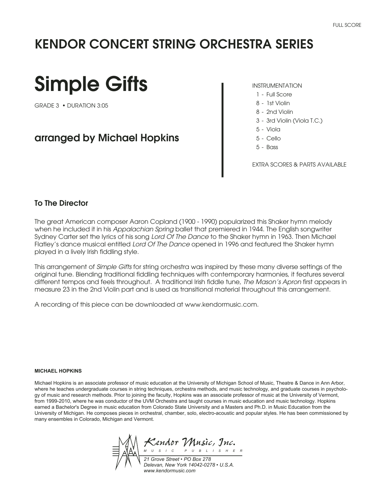 Michael Hopkins Simple Gifts - Full Score sheet music notes and chords. Download Printable PDF.
