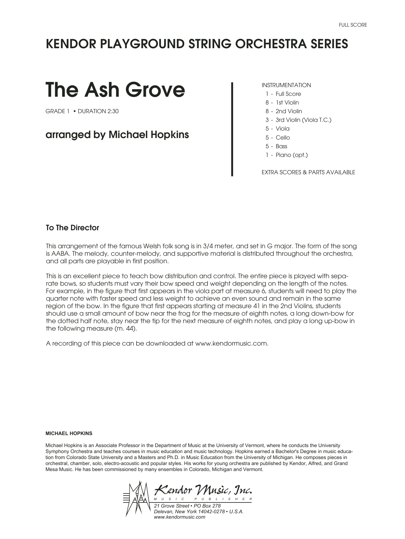 Michael Hopkins The Ash Grove - Full Score sheet music notes and chords. Download Printable PDF.