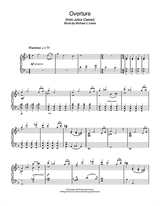 Michael J. Lewis Overture (from Julius Caesar) sheet music notes and chords. Download Printable PDF.