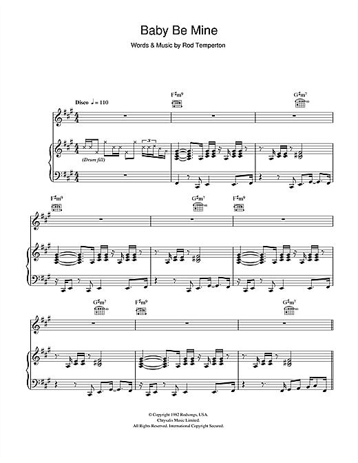 Michael Jackson Baby Be Mine sheet music notes and chords. Download Printable PDF.