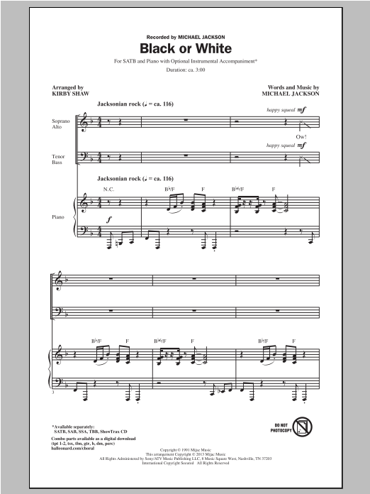 Michael Jackson Black Or White (arr. Kirby Shaw) sheet music notes and chords. Download Printable PDF.