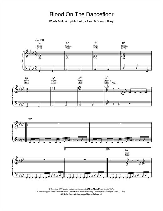 Michael Jackson Blood On The Dance Floor sheet music notes and chords. Download Printable PDF.