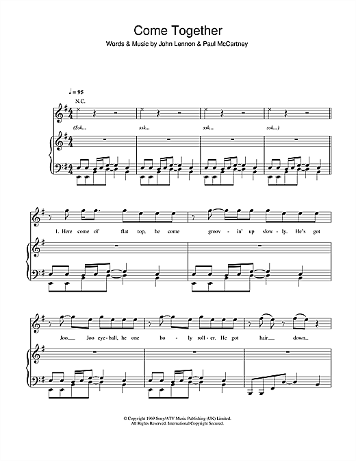 Michael Jackson Come Together sheet music notes and chords. Download Printable PDF.