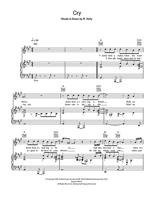Michael Jackson Cry sheet music notes and chords. Download Printable PDF.