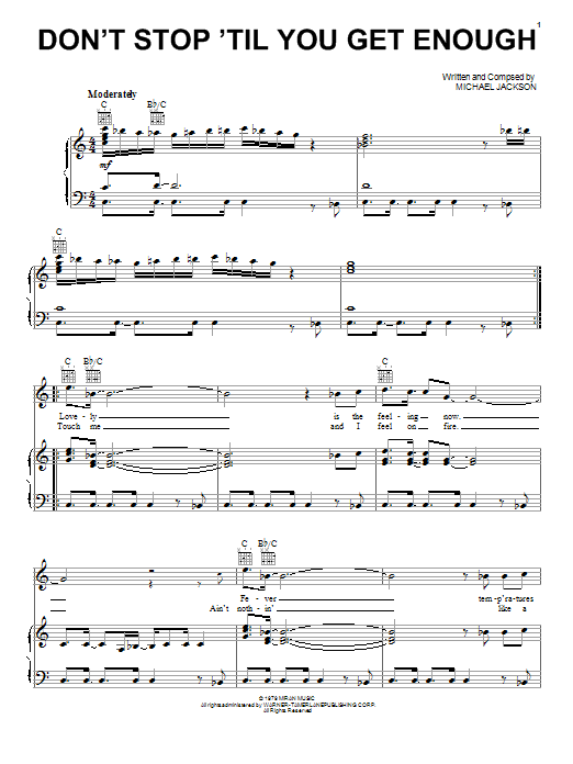 Michael Jackson Don't Stop Till You Get Enough sheet music notes and chords