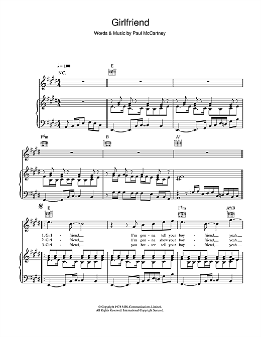 Michael Jackson Girlfriend sheet music notes and chords. Download Printable PDF.