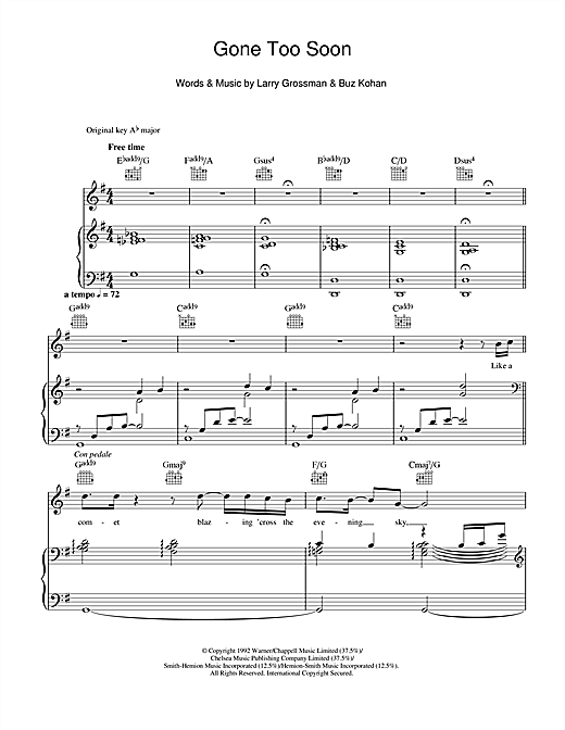 Michael Jackson Gone Too Soon sheet music notes and chords. Download Printable PDF.