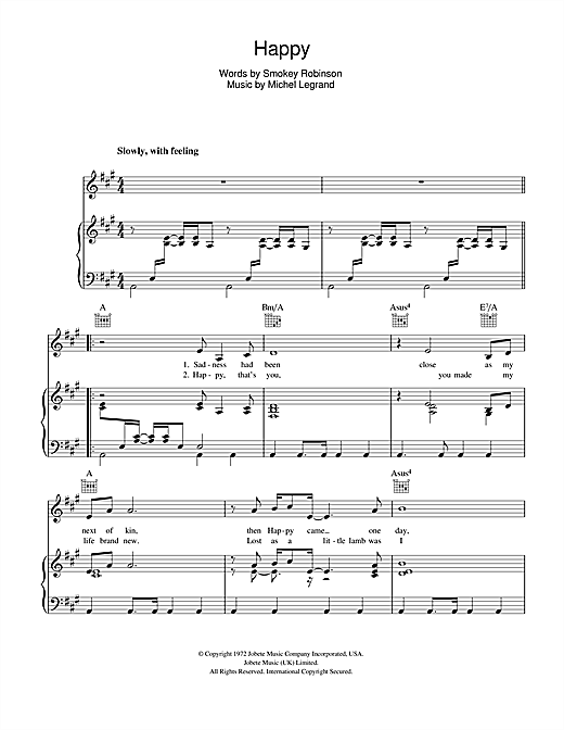 Michael Jackson Happy sheet music notes and chords. Download Printable PDF.