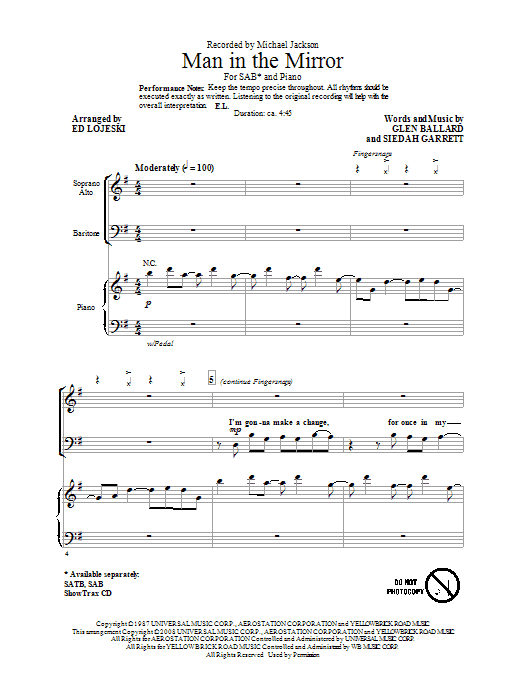 Michael Jackson Man In The Mirror (arr. Ed Lojeski) sheet music notes and chords. Download Printable PDF.