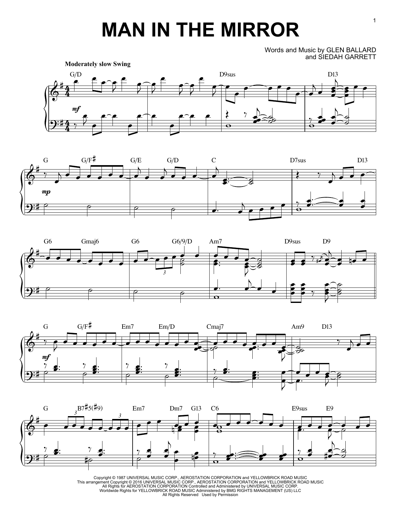 Michael Jackson Man In The Mirror [Jazz version] (arr. Brent Edstrom) sheet music notes and chords. Download Printable PDF.