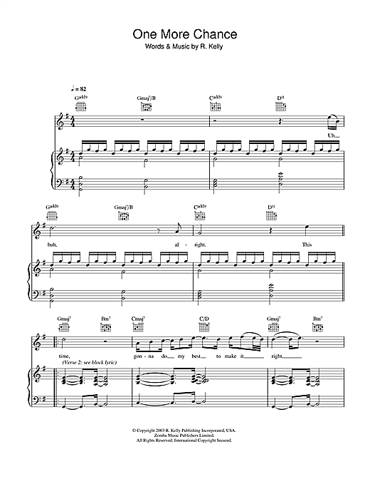Michael Jackson One More Chance sheet music notes and chords. Download Printable PDF.