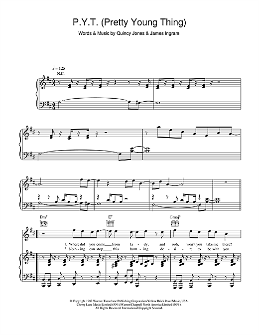 Michael Jackson P.Y.T. (Pretty Young Thing) sheet music notes and chords. Download Printable PDF.