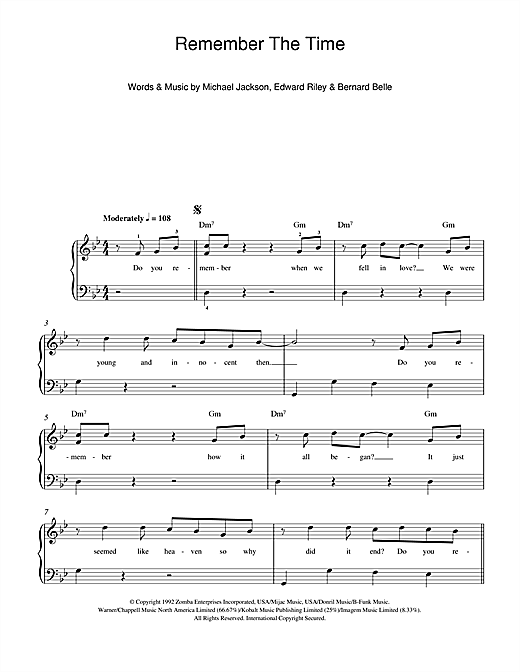 Michael Jackson Remember The Time sheet music notes and chords