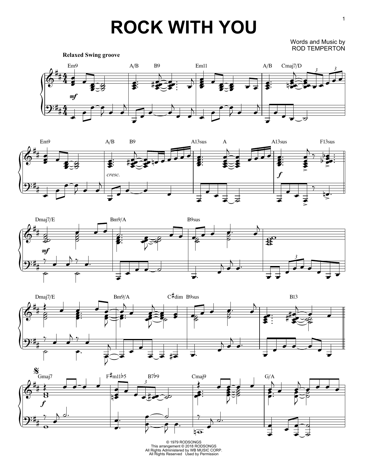 Michael Jackson Rock With You [Jazz version] sheet music notes and chords. Download Printable PDF.