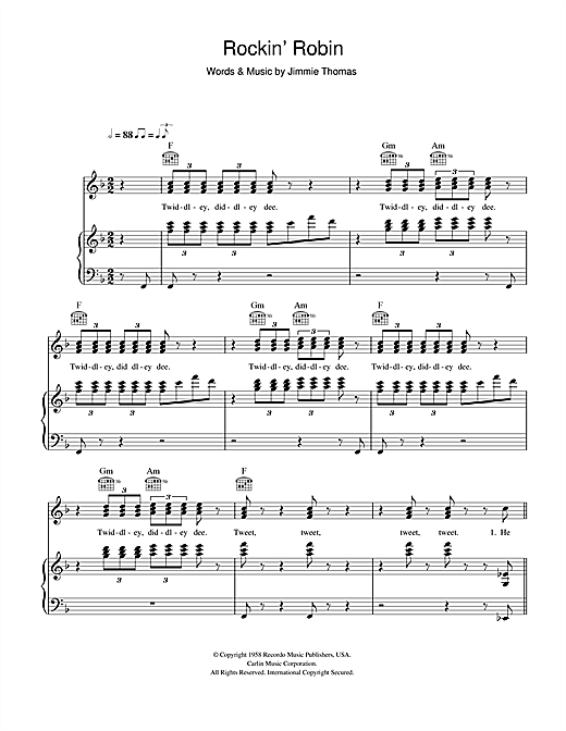 Michael Jackson Rockin' Robin sheet music notes and chords. Download Printable PDF.