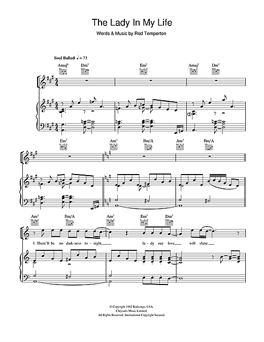 Michael Jackson The Lady In My Life sheet music notes and chords. Download Printable PDF.