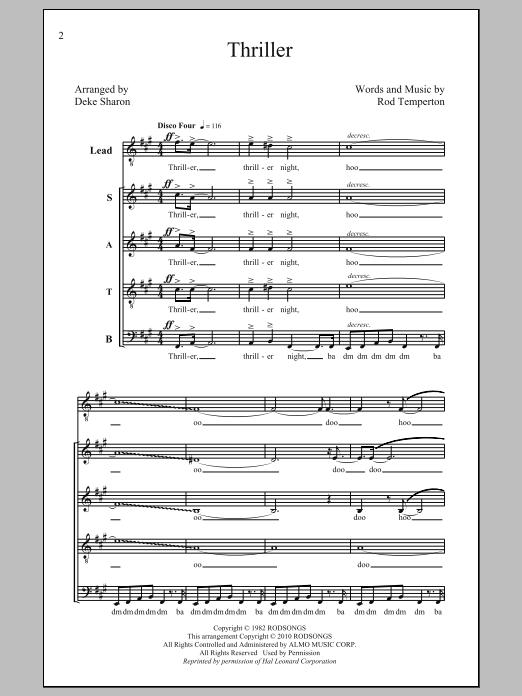 Michael Jackson Thriller (arr. Deke Sharon) sheet music notes and chords. Download Printable PDF.