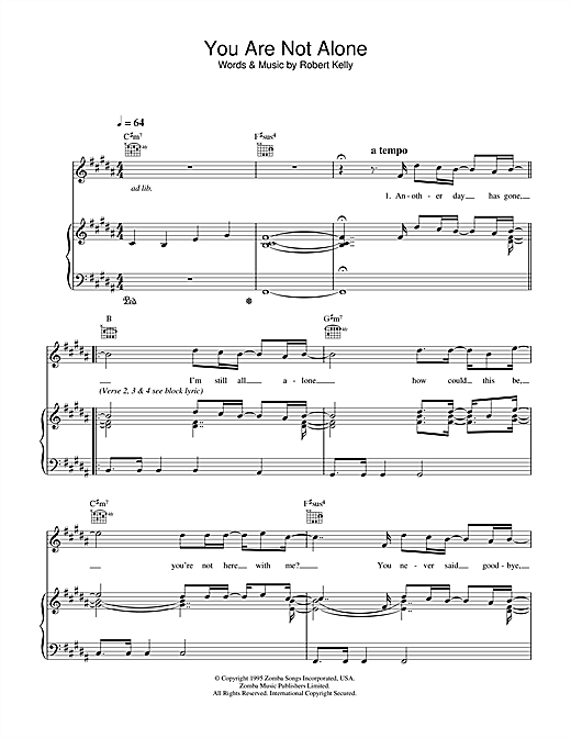 Michael Jackson You Are Not Alone sheet music notes and chords. Download Printable PDF.