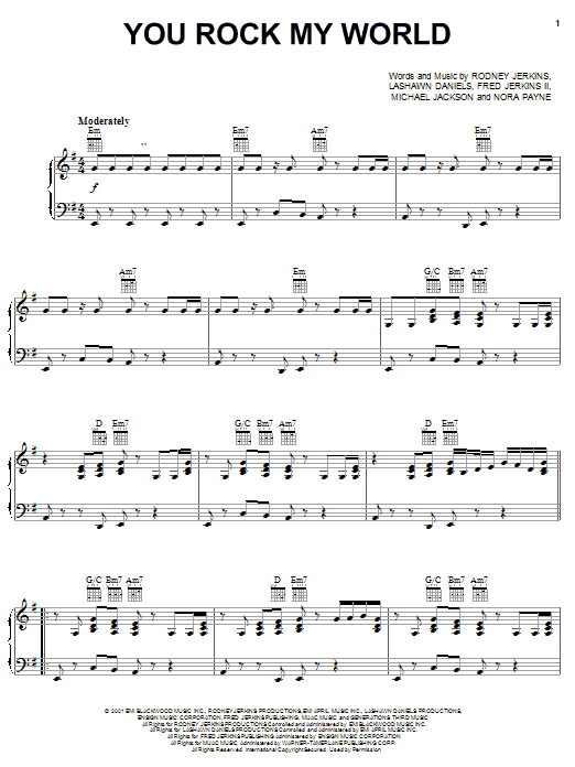 Michael Jackson You Rock My World sheet music notes and chords. Download Printable PDF.