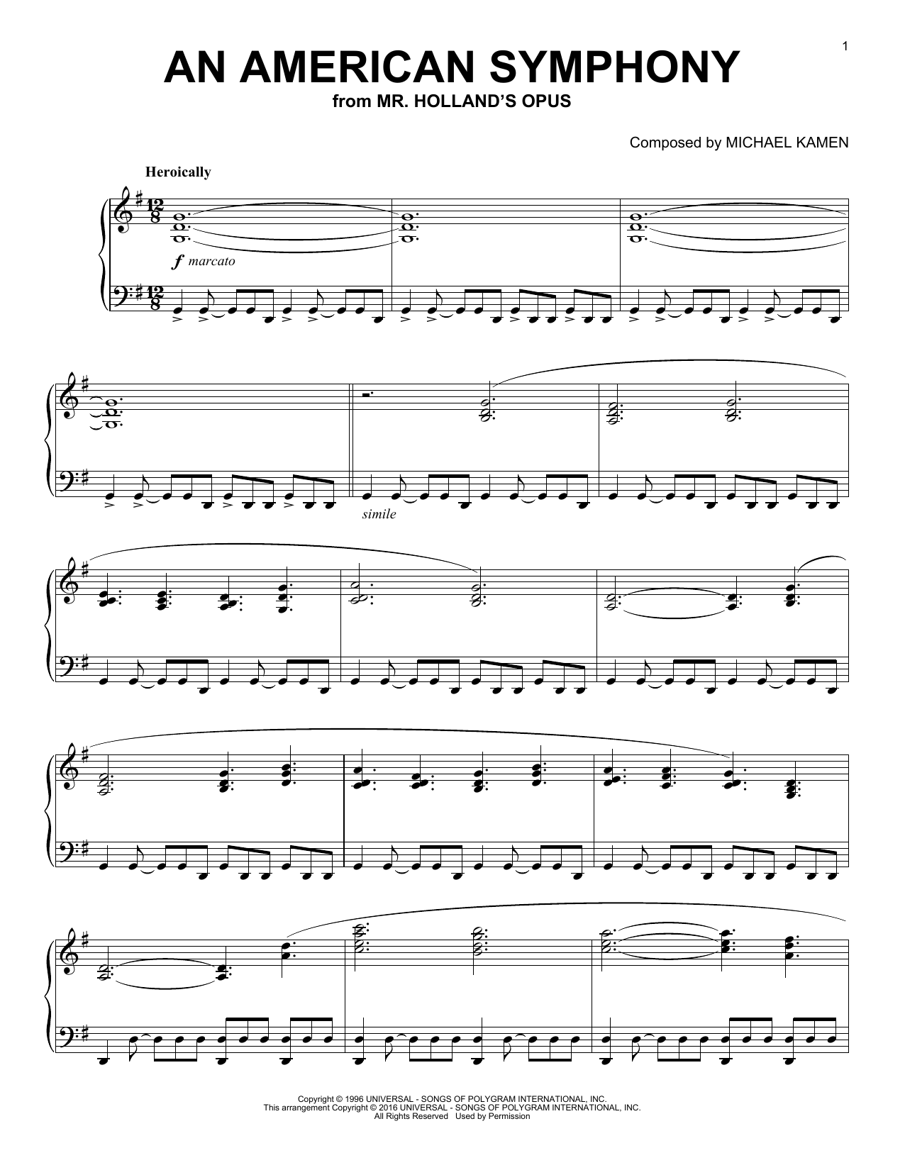 Michael Kamen An American Symphony sheet music notes and chords. Download Printable PDF.