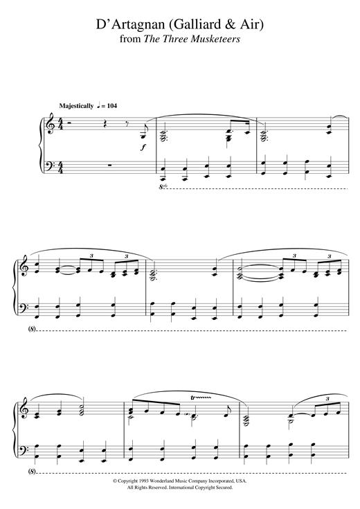 Michael Kamen The Three Musketeers (D'Artagnan (Galliard & Air)) sheet music notes and chords