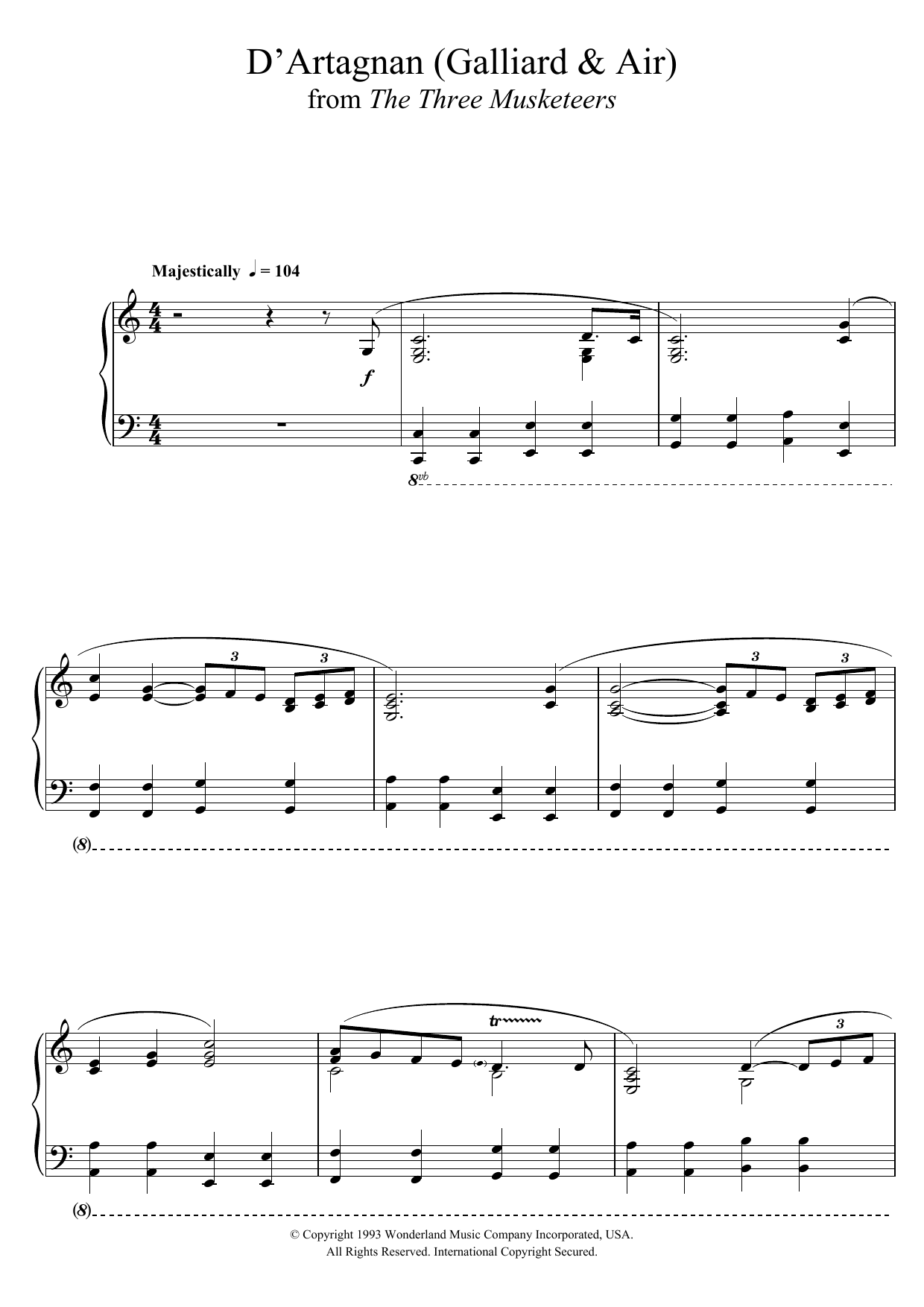 Michael Kamen The Three Musketeers (D'Artagnan (Galliard & Air)) sheet music notes and chords. Download Printable PDF.