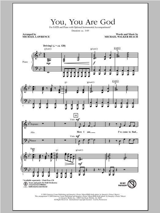 Michael Lawrence You, You Are God sheet music notes and chords. Download Printable PDF.