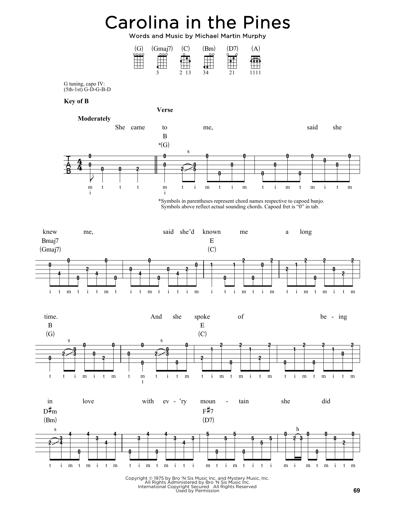 Michael Martin Murphy Carolina In The Pines sheet music notes and chords