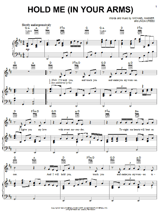 Michael Masser Hold Me (In Your Arms) sheet music notes and chords. Download Printable PDF.
