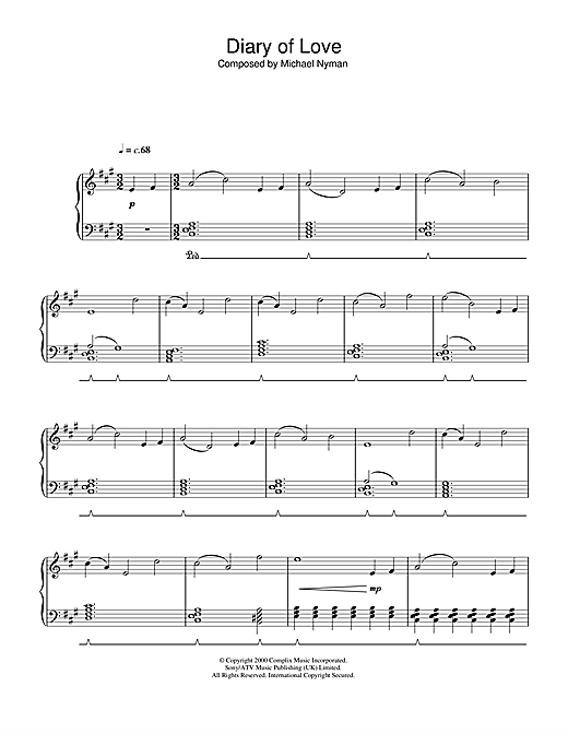 Michael Nyman Diary Of Love (from The End Of The Affair) sheet music notes and chords. Download Printable PDF.