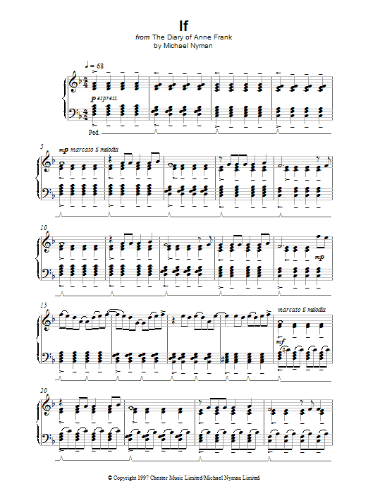 Michael Nyman If (from The Diary Of Anne Frank) sheet music notes and chords. Download Printable PDF.