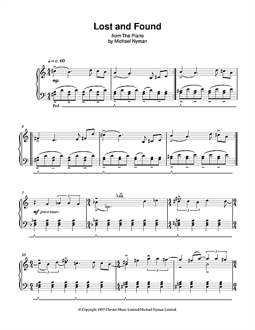 Michael Nyman Lost And Found (from The Piano) sheet music notes and chords