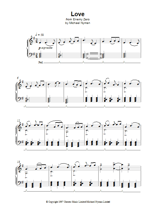 Michael Nyman Love (from Enemy Zero) sheet music notes and chords. Download Printable PDF.