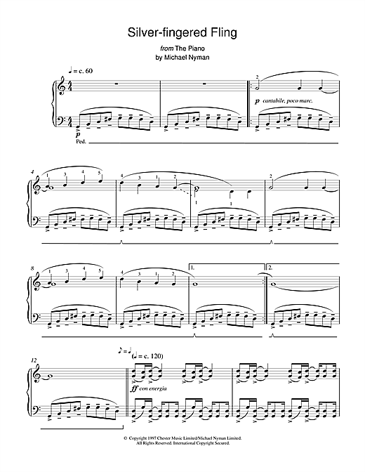 Michael Nyman Silver-Fingered Fling (from The Piano) sheet music notes and chords. Download Printable PDF.