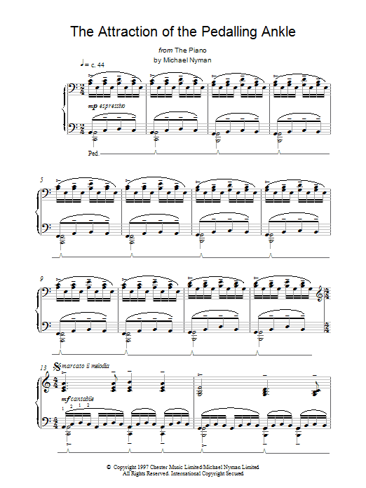 Michael Nyman The Attraction of the Pedalling Ankle (from The Piano) sheet music notes and chords. Download Printable PDF.